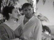 Screenshot of Ava Gardner and Richard Burton from the trailer for the film The night of the iguana.