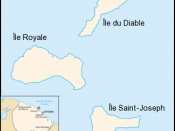 Map of the Salvation Islands (Îles du Salut), off the coast of French Guiana.