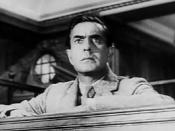 Cropped screenshot of Tyrone Power from the trailer for the film Witness for the Prosecution