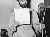 Haile Selassie, Emperor of Ethiopia, photographed during a radio broadcast
