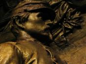 Memorial to Robert Gould Shaw and the Massachusetts Fifty-Fourth Regiment, 1884 - 1897. Detail of figure of Shaw. Augustus Saint-Gaudens (1848 - 1907). Plaster original,http://www.nga.gov/feature/shaw/s4300.shtm National Gallery of Art, Washington, D.C..