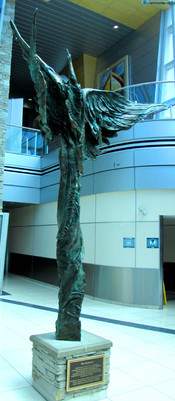 English: The Embrace, scultpure by Luben Boykov, St. John's International Airport, St. John's, Newfoundland and Labrador