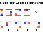 This is an example of an item from a cognitive ability (intelligence) test. It was constructed by substantially modifying an item from a widely used test. The item is designed to assess the ability to recognize figural series. The correct answer is d.