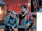 The recalled cover of Action Comics #869, showing Superman and Jonathan Kent enjoying a bottled beverage. The bottom of the drink's label appears to say