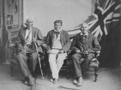 English: 1882 studio portrait of the (then) last surviving Six Nations warriors who fought with the British in the War of 1812: (left to right) Sakawaraton a.k.a. John Smoke Johnson (born circa 1792), John Tutela (born ca. 1797) and Young Warner (born ca.