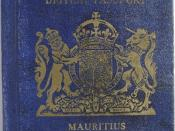 English: Passport of British Mauritius