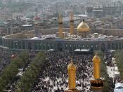 Millions of Shia Muslims gather around the Husayn Mosque in Karbala after making the Pilgrimage on foot during Arba'een. Arba'een is a forty day period that commemorates the martyrdom of Husayn bin Ali, grandson of the Prophet Muhammad, and seventy-two of