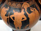 Hector putting his armor on, surrounded by Priam and Hecuba. Side A of an Attic red-figure amphora, ca. 510 BC. From Vulci.