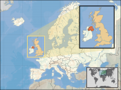 Location of Northern Ireland in the UK and Europe, on terrain map showing surface and underwater contour areas.