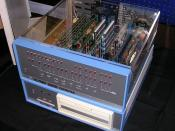 Altair 8800 Computer with 8 circuit boards installed. The Altair floppy disk system below has a Pertec 8-inch drive.