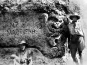 An ANZAC trench at Gallipoli with a Maori whakairo in stone.