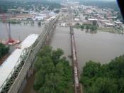English: The new Atchison, the Amelia Earheart Bridge and Atchsion rail bridge on June 26, 2011 during the 2011 Missouri River floods.