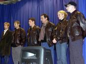 Part of the cast of the 2001 film Ocean's Eleven at Incirlik Air Base, Turkey. The cast from left to right is Brad Pitt, George Clooney, Matt Damon, Andy Garcia, Julia Roberts and director, Steven Soderbergh.