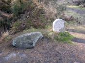 English: Memorial Stones, Wareham Forest. The stone on the left bears the letters 'V E' and the one on the right carries the date '1817'. The shape of the latter suggests that it could be a headstone. At this date in the 19th century the area would still