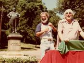 Famed atheist Madalyn Murray O'Hair, 1983 in front of the Robert Ingersoll statue in Glen Oak Park, Peoria, Illinois. I don't know the name of the bearded man in this picture. Madalyn O'Hair was murdered in 1995 along with her son and granddaughter.