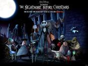 The main characters in The Nightmare Before Christmas from left to right Doctor Finklestein, the Mayor, Sally, Jack, Barrel, Santa Claus, Zero, Lock, Shock and Oogie Boogie.