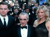 Scorsese at the Gangs of New York screening at the Cannes Film Festival with Leonardo DiCaprio and Cameron Diaz.