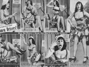 English: A magazine feature from Beauty Parade from March 1952 stereotyping women drivers. It features Bettie Page as the model.