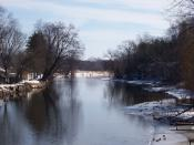 Looking east at the Fox River in Montello, Wisconsin, USA. Taken March 11, 2007 by myself.