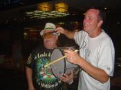 Mike Vondran drumming with a Brazilian drummer in Copacabana, Rio de Janeiro, Brazil, December 31 2008.