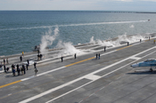 English: ATLANTIC OCEAN (April 7, 2009) Sailors assigned to the air department of the aircraft carrier USS George H.W. Bush (CVN 77) test the ship's catapult systems during acceptance trials. (U.S. Navy Photo by Mass Communication Specialist 2nd Class Jen