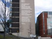 English: Welcoming poetry! A poem by Andrew Motion welcomes travellers to Sheffield. The poem is written on the side of the Howard Building of Sheffield Hallam University and is visible from Sheffield train station. This photograph is taken from Howard St