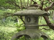 Stone lantern in the Shukkei-en garden, Hiroshima, Japan.