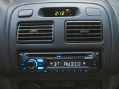English: Sony Xplod MEX-BT2500 Bluetooth stereo head unit illuminated