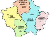 The districts of Kosovo and Metohija at the time