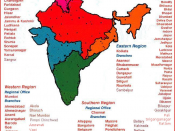 English: Map showing the Regional Councils of the Institute of Chartered Accountants of India and its branches