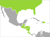 Map of all countries which have ratified the Dominican Republic–Central America Free Trade Agreement.