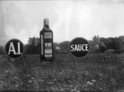 English: A1 steak sauce advertising signs in a field