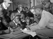 Several Tuskegee airmen at Ramitelli, Italy, March 1945.