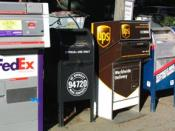 Image taken by User:Minesweeper on December 14, 2003 and released into the public domain. From left to right, the post boxes belong to FedEx Corporation, University of California, Berkeley, United Parcel Service, and two from the United States Postal Serv