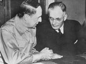 U.S. General Douglas MacArthur, Commander of Allied forces in the Pacific, with Prime Minister Curtin