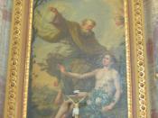 Linkes Altarbild: Da formte Gott, der Herr, den Menschen aus Erde vom Ackerboden und blies in seine Nase den Lebensatem. So wurde der Mensch zu einem lebendigen Wesen. (Adam sitzend dargestellt)