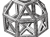 The first printed illustration of a rhombicuboctahedron, by Leonardo da Vinci, from De divina proportione.