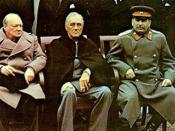 A tight crop of Image:Yalta summit 1945 with Churchill, Roosevelt, Stalin.jpg. Winston Churchill, Franklin D. Roosevelt and Josef Stalin at the Yalta conference.