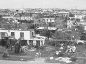Damaged houses after the passage of Cyclone Tracy on Christmas day 1970 in Darwin, Australia.