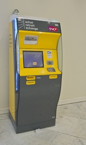 A SNCF ticket machine in Orly International Airport near Paris, France.