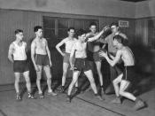 English: Basketball practice, 1925. Item 64042, Ben Evans Recreation Program Collection (Record Series 5801-02),