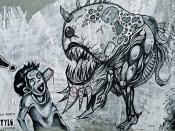 Graffiti Monster Eating Human