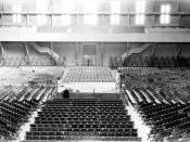 English: Interior of the SF Armory Drill Court showing boxing ring, ca. 1928.
