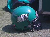 English: Saskatchewan Roughriders Canadian football helmet