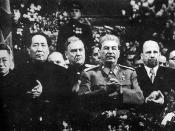Mao at Stalin's side on a ceremony arranged for Stalin's 70th birthday in Moscow in December 1949. Behind between them is Marshal of the Soviet Union Nikolai Bulganin. on the right hand of Stalin is Walter Ulbricht of East Germany and at the edge Mongolia