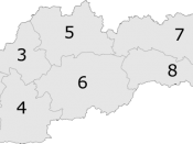 Map of Slovak Republic showing Banská Bystrica Region as region 6