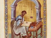 Evangelist Luke writing, Byzantine illumination, 10th century