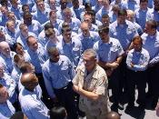 English: At sea aboard USS Oak Hill (LSD 51) Jun. 22, 2002 -- U.S. Army General Tommy R. Franks, Commander in Chief of U.S. Central Command, headquartered at MacDill Air Force Base, FL, speaks to Sailors and Marines aboard USS Oak Hill. Gen. Franks visite