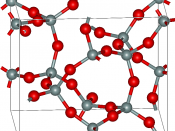 keatite (SiO2), red atoms are oxygens