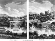 A print exemplifying the contrast between neo-classical vs. romantic styles of landscape and architecture (or the